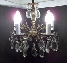 Vintage Petite Brass Crystal Chandelier 5 Arm Five by donDiLights, $275.00