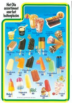 """Rechtsonderin het """"kaugomballenijsje"""" waar ik over had. Good Old Times, The Good Old Days, My Childhood Memories, Sweet Memories, My Memory, Vintage Advertisements, Summer Recipes, Homemade, Food"""
