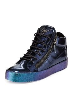 Giuseppe Zanotti mid-top sneaker in mirrored calf leather. Round toe. Lace-up front. Dual-side zips. Logo detail at tongue. Padded collar. Leather lining and insole. Ombre metallic rubber sole. Made i