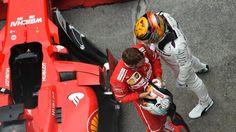 Sebastian Vettel (GER) Ferrari and Lewis Hamilton (GBR) Mercedes AMG F1 celebrate in parc ferme at Formula One World Championship, Rd2, Chinese Grand Prix, Race, Shanghai, China, Sunday 9 April 2017. © Sutton Motorsport Images