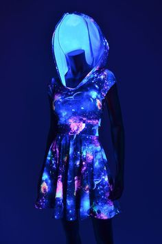 UV Glow Galaxy Print Hoodie Cap Sleeve Fit and by CoquetryClothing #festival