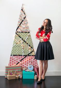 DIY a wall tree for the holidays with this step by step tutorial. Tiny Christmas Trees, Fabric Christmas Trees, Holiday Tree, Xmas Tree, All Things Christmas, Holiday Crafts, Christmas Holidays, Christmas Decorations, Christmas Ideas