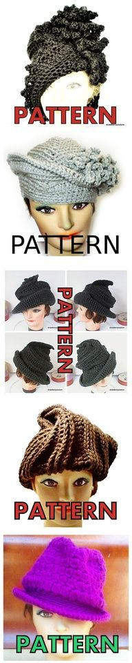 Crochet Couture Hat Patterns PDF DIY $24.00 - 5 crochet hat patterns sold together - 20% off