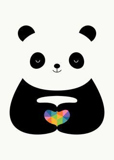 Panda Love Art Print by Andy Westface - X-Small Panda Love, Cute Panda, Panda Bear, Framed Art Prints, Poster Prints, Panda Illustration, Panda Wallpapers, Panda Party, Love Frames