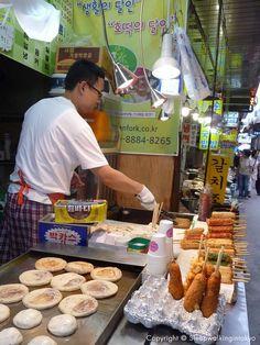 Sweet Korean pancake - Hoddeok at Namdaemun