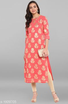 Kurtis & Kurtas Women Floral Printed Crepe Kurti Fabric: Crepe Sleeves: 3/4th Sleeves Are Included Size: XS - 34 in S - 36 in M - 38 in L - 40 in XL - 42 in 2XL - 44 in 3XL - 46 in Length: Up To 47 in Type: Stitched Description: It Has 1 Piece Of  Women's Kurti Work: Foil Printed Country of Origin: India Sizes Available: XS, S, M, L, XL, XXL, XXXL   Catalog Rating: ★4.2 (434)  Catalog Name: Women Crepe A-line Printed Gold Kurti CatalogID_251801 C74-SC1001 Code: 694-1909705-7821