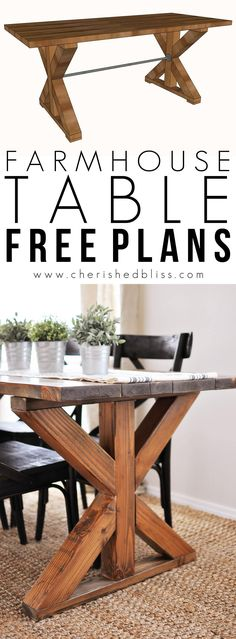 X Farmhouse Table | This easy to build Farmhouse Table is the perfect addition to any dining or breakfast room. With it's industrial touches and farmhouse style you will love serving meals at this table!