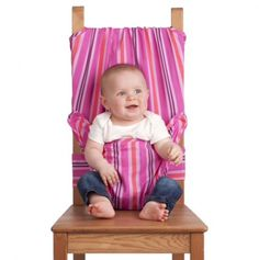 Portable Fabric Highchair for Baby in Pink Candy Stripes.