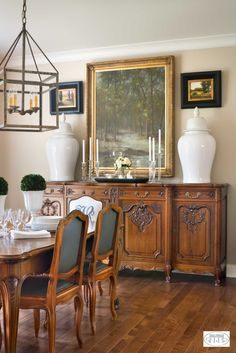 Freshen up your traditional dining room with a few contemporary accents.