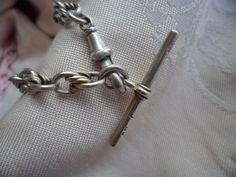 ANTIQUE VINTAGE STERLING SILVER & GOLD WATCH CHAIN BRACELET T BAR CHARM