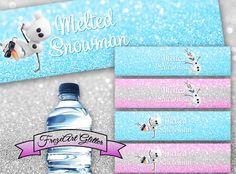 Frozen Olaf Water bottle labels Melted snowman by FrezeArtGlitter