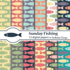 75% OFF SALE Fishing, sea,nautical,seafood, marine life Digital papers, Patterns, Backgrounds, Personal and commercial use, Instant download