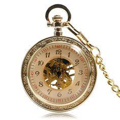 Full Gold Gear Dial Mechanical Hand Winding Pocket Watch Antique Steampunk Men Women Fob Clock Relogio De Bolso