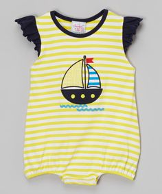 Look what I found on #zulily! Yellow & Navy Sailboat Bubble Romper - Infant & Toddler by Smocked or Not #zulilyfinds