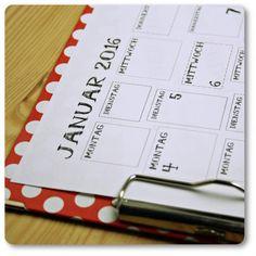 Kalender 2016 {Free Printable} - Handmade Kultur