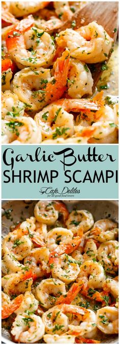 Garlic Butter Shrimp Scampi is so quick and easy! A garlic buttery scampi sauce with a hint of white wine & lemon in less than 10 minutes! Garlic Butter Shrimp Scampi can be enjoyed as an appetizer/light Garlic Shrimp Scampi, Garlic Butter Shrimp Pasta, Garlic Parmesan Shrimp, Shrimp Scampy, Healthy Shrimp Scampi, Shrimp Scampi With Pasta, Bubba Gump Shrimp Scampi Recipe, Easy Shrimp Scampi Recipe No Wine, Al Dente