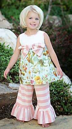 Persnickety Girls Rose Dress Heirloom and Bell Pants|Persnickety Clothing $79.50