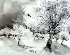 Collage Landscape, Pastel Landscape, Winter Landscape, Abstract Landscape, Landscape Paintings, Watercolor Images, Pen And Watercolor, Watercolour Painting, Winter Scene Paintings