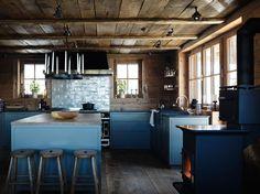 Rustic Alps Chalet decor, Blue Kitchen, Reclaimed Wood Beams and Floors, Wabi Sabi Kitchen Chalet Fontanet Kitchen | Studio Ilse