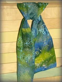 Hand Painted Silk Scarf Blue Green and Yellow with light by HaniH.