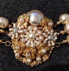 Miriam Haskell Antique Triple Strand Costume Cluster Pearl Gold Necklace   eBay