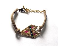 Tribal Tan and Gold Colorful Arrow Bracelet by EphemeralDesigns, $20.00