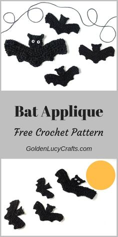 Crochet Halloween Bat Applique, Free Crochet Pattern This crochet Bat applique is my next pattern for the Halloween series. This Bat applique would be perfect for your handmade Halloween costume, as a home decoration, embellishment for clothing and more! Crochet Bat, Crochet Gratis, Crochet Pumpkin, Free Crochet, Crotchet, Crochet Pour Halloween, Halloween Applique, Halloween Crochet Patterns, Crochet Applique Patterns Free