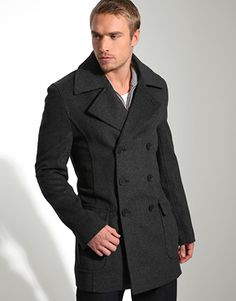 d3a940e773585 French Connection Double Breasted Peacoat Trendy Mens Winter Coats