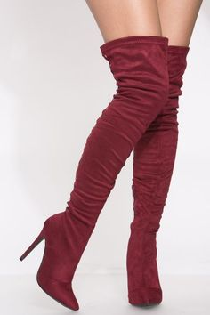 Wine Faux Suede Thigh High Lace Up Boots