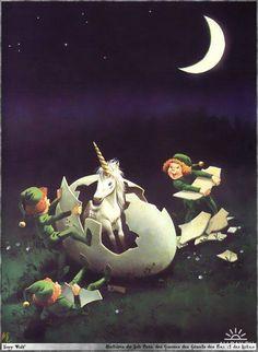Gnomes helping a unicorn hatch