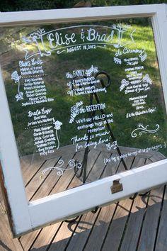Wedding program on Salvage Window Original rope and brass hardware still attached!