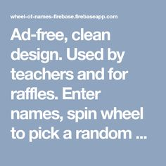 Free and easy to use. Used by teachers and for raffles. Enter names, spin wheel to pick a random winner. Customize look and feel, save and share wheels. Class Management, Classroom Management, Name Picker, Italian Online, Teaching History, Classroom Fun, Beginning Of School, Know Who You Are, Childhood Education