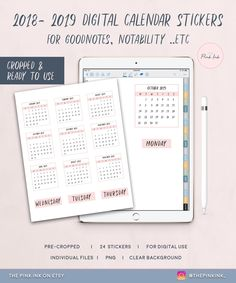 Pink Digital Dated Calendar Stickers for GoodNotes Notability, Calendar stickers Pack, Digital stickers Calendar Stickers, Journal Stickers, Planner Stickers, Free Stickers, Printable Stickers, Inked Shop, Digital Journal, Business Planner, Planner Template