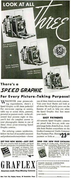 Graflex Speed Graphic 1940 Anniversary- Camera - Old Ad