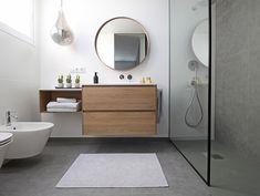 Dark floor tile with light wall tile. Timber vanity as a feature. Gives a clean/ simple and homely feel to the room. Contemporary Bathroom Sinks, Modern Bathroom Design, Bad Inspiration, Bathroom Inspiration, Bathroom Colors, Small Bathroom, Bathroom Ideas, Timber Vanity, Shower Storage