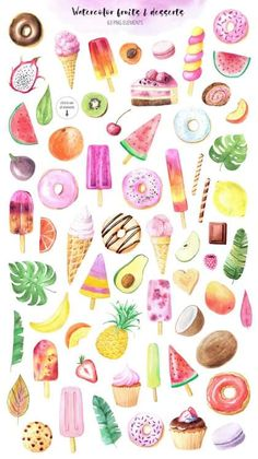 Watercolor Fruit, Watercolor Paintings, Watercolor Stickers, Printable Stickers, Planner Stickers, Fruit Clipart, Cupcake Clipart, Food Clips, Clip Art