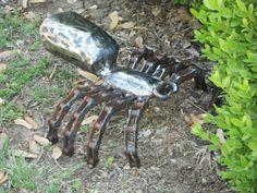 Spider Metal Sculpture Arachnid Metal Spider Garden Art Yard Art Found Objects