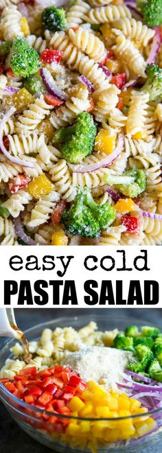 An easy Cold Pasta Salad recipe with broccoli, peppers, zesty Italian dressing and Parmesan cheese. Make it ahead; the flavor gets even better as it sits! Pinned over 38,900 times!