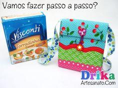 Bolsa infantil feita com caixinha - Drika Artesanato
