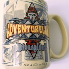 Disneyland Adventureland Coffee Mug Vtg Skull Heads Shields Tiki Faces Leaves #Disney