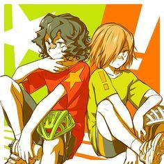Yowamushi Pedal (Yowapeda) - Junta Teshima x Hajime Aoyagi - Yowamushi No Pedal, Nerd Show, Aladdin Magi, Sanrio Danshi, Fanart, Anime Manga, Anime Boys, Otaku, Doujinshi