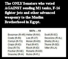 Here are the only senators that don't want to see the American-hating Muslim Brotherhood funded with more money and weapons.