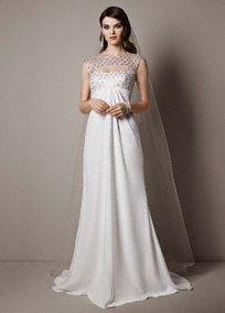 Galina Signature Cap Sleeve Crepe Sheath Wedding Gown with Beaded Bodice, Style SRL644 #davidsbridal #sparkle #weddingdress