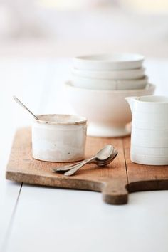 Ceramics on a wooden serving board