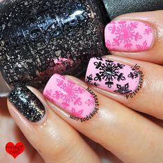 nails.quenalbertini: Heartnat | Pink & Black Snowflakes with Bundle Monster BM-H02