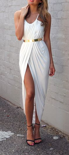 White Wrap Sexy Dress With Belt