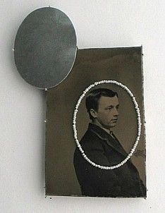 Bettina Speckner, brooch 2011   Tintype, Silver, Seed pearls, Photoetching/Zinc