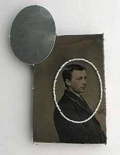 Bettina Speckner, brooch 2011   Tintype, Silver, Seed pearls, Photoetching/Zinc
