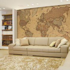 Grunge Rust Texture World Map Wallpaper Wall Mural Fleece Easy-Install Paper