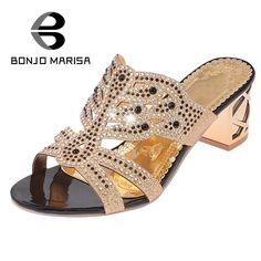 13.35$  Buy here - BONJOMARISA Butterfly Rhinestone Women Summer Shoes Fashion Woman Chunky Heel Sandals Leisure Slip On Beach Party Footwear  #aliexpressideas